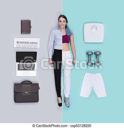 Lifelike female doll comparison: businesswoman and sportswoman - csp53128220
