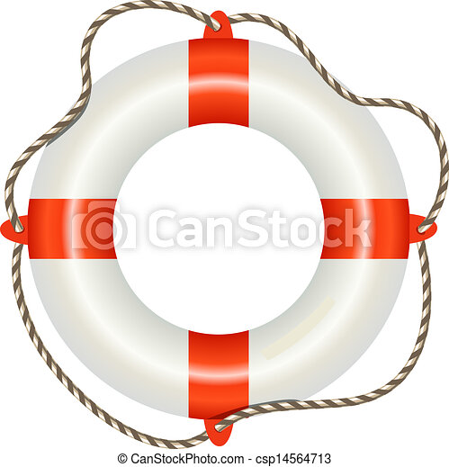 Lifesaver buoy isolated on white background - csp14564713
