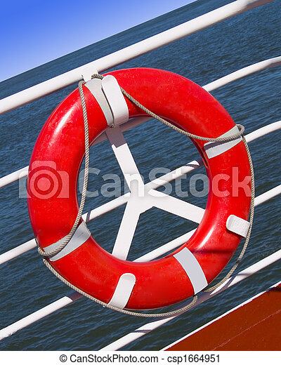 lifesaver red lifesaver on a boat at sea