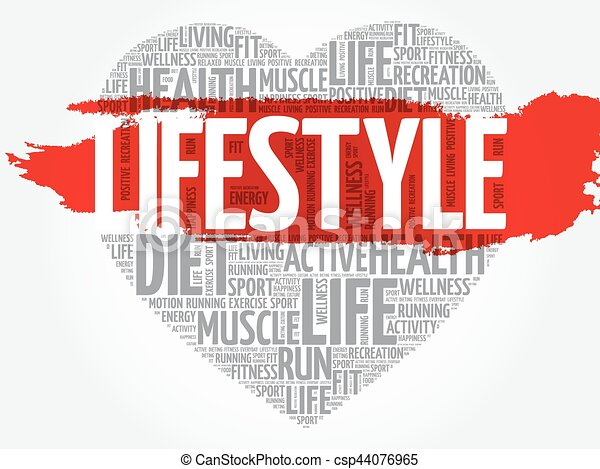 75148a8f04680 Lifestyle heart word cloud, fitness, sport, health concept.