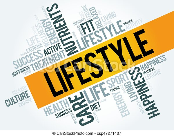 1c1eb57fb8129 Lifestyle word cloud, fitness, sport, health concept.