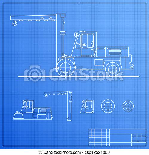 Lift truck blueprint vector illustration contains vector lift truck blueprint csp12521800 malvernweather Images