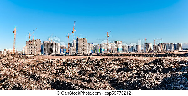 Lifting crane and construction of houses - csp53770212