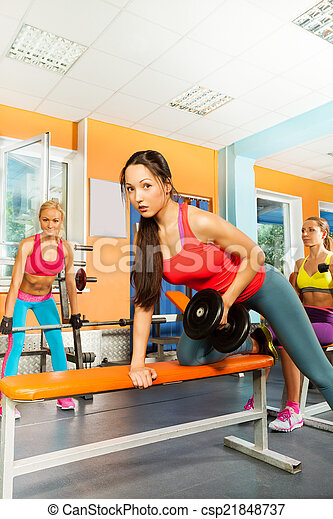 lifting dumbbell weights on the bench exercise portrait