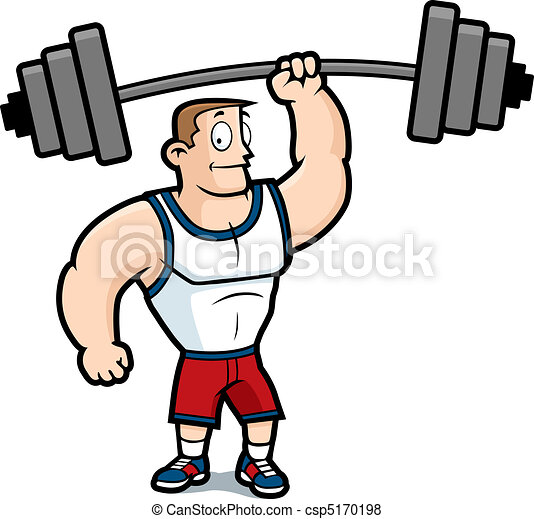 lifting weights a cartoon strong man lifting a heavy vector rh canstockphoto com Strong Man Vector Strong Man Vector
