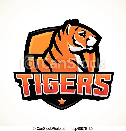 La plantilla de mascota de los deportes de los Tigres. Fútbol prehecho o diseño de parches de baloncesto. La insignia de la liga universitaria, vector del equipo de secundaria - csp40876180
