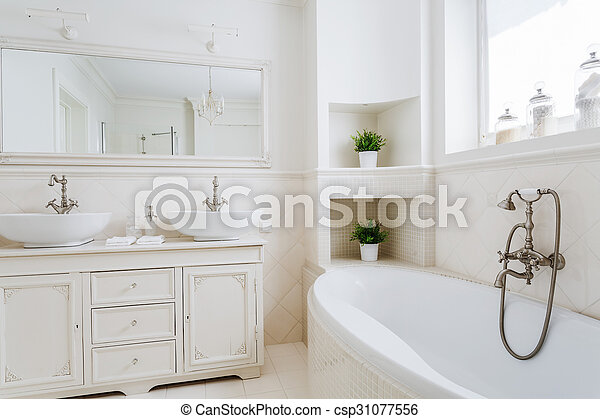 Light Bathroom With Two Sinks And Big Mirror Canstock
