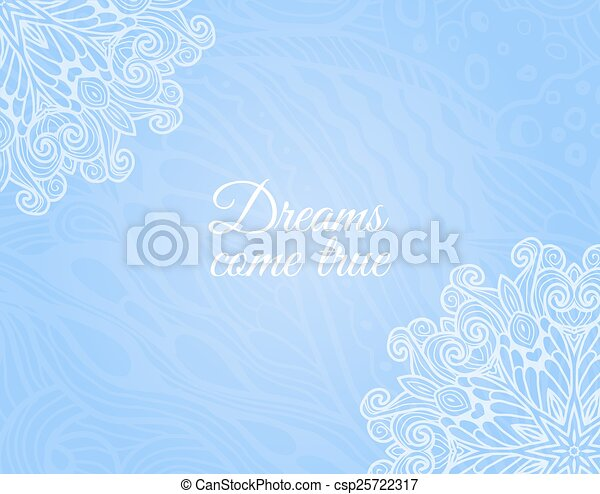 Light blue background with floral doodle - csp25722317