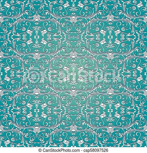 Light Blue Damask Seamless Pattern