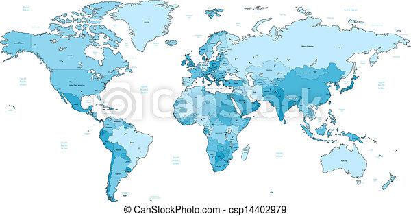 Light blue detailed world map detailed vector world map of light blue detailed world map csp14402979 gumiabroncs Images