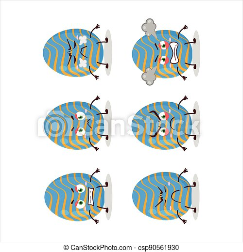 Light blue easter egg cartoon character with various angry expressions - csp90561930
