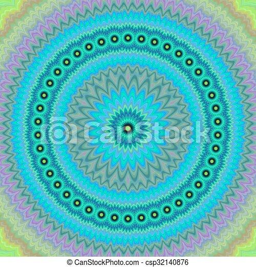 Light blue floral fractal mandala background - csp32140876