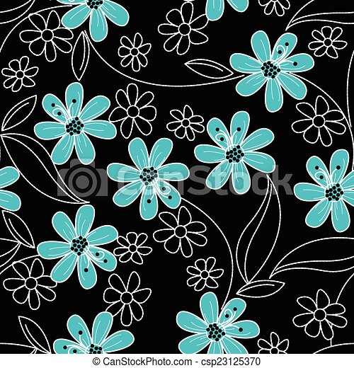 Light Blue Flowers On Black And White Embroidery In A Seamless Pattern Vector