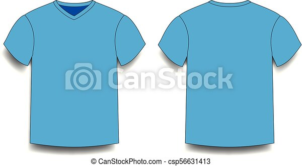 Light Blue Male T Shirt Template V Neck Front And Back Side Views
