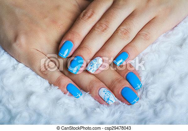 Light Blue Nail Art On White Clothes