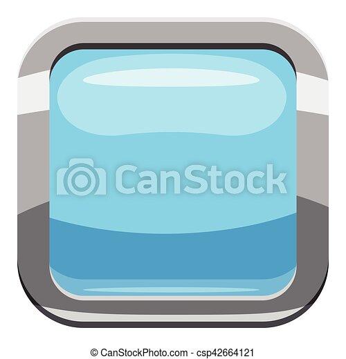 Light blue square button icon, cartoon style - csp42664121