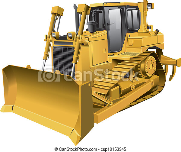 light brown dozer detailed vector image of large light brown rh canstockphoto com Cartoon Bulldozer Clip Art dozer clip art free images