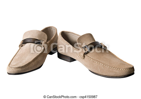 light brown male leather shoes isolated on white - csp4150987