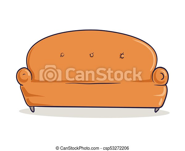 Light Brown Soft Couch. Sandy Colored Sofa With Shadow. Isolated Image On  White Background. Vector