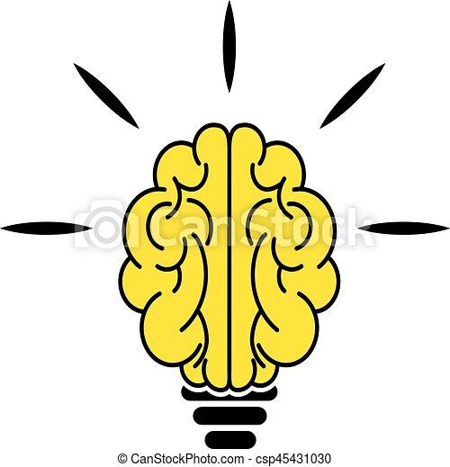 Light bulb brain icon - csp45431030