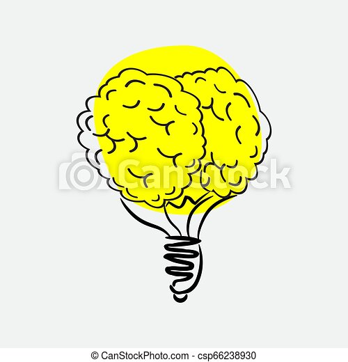 Light bulb brain icon. Vector illustration - csp66238930