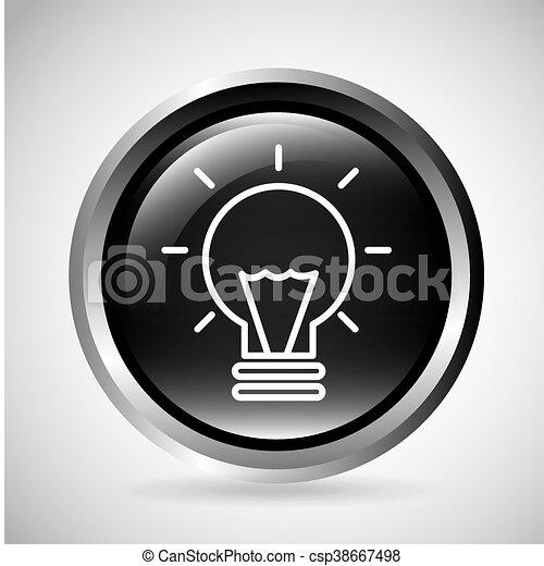 Light bulb button. Silhouette icon design. Vector graphic - csp38667498
