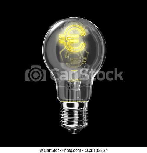 Light bulb classic type. The filament is of the shape of Euro, lit and with glowing halo. On black backgrond. - csp8182367