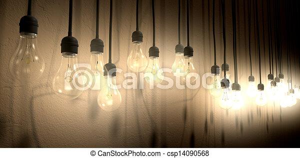 Light bulb hanging wall arrangement perspective a front stock light bulb hanging wall arrangement perspective csp14090568 aloadofball Image collections