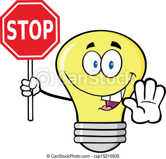Light Bulb Holding A Stop Sign - csp15210935