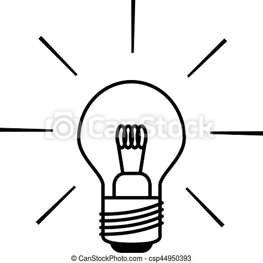 Light Bulb Icon In Black And White Outlines Light Bulb Icon Shining
