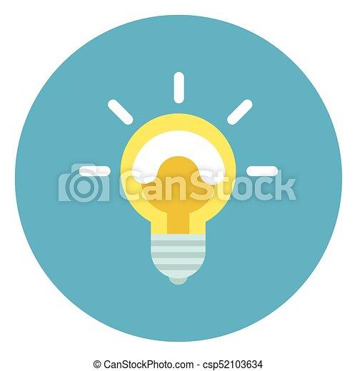 Light Bulb Icon On Round Blue Background - csp52103634