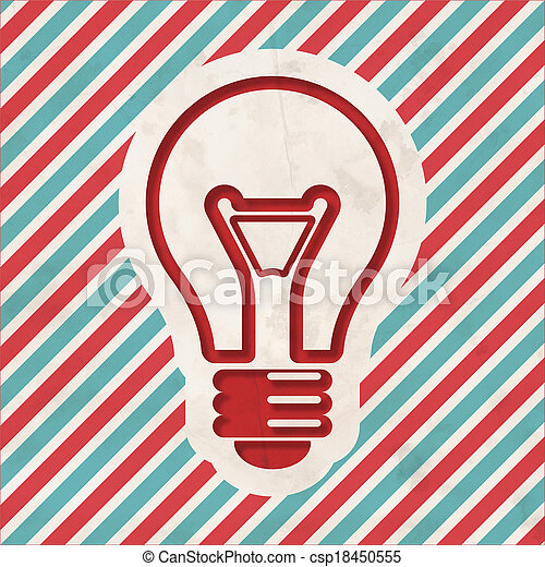 Light Bulb Icon on Striped Background. - csp18450555