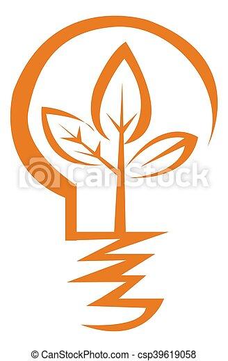 Light bulb icon orange - csp39619058