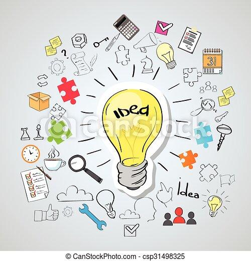 Light Bulb Idea Creative Concept Doodle - csp31498325