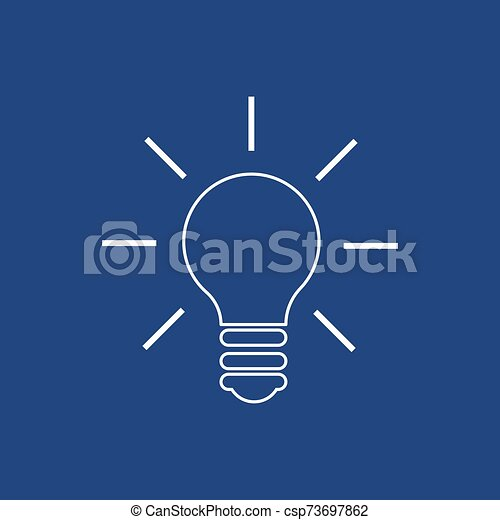 Light Bulb line icon vector. Idea sign, solution, thinking concept. Lighting Electric lamp. Electricity, shine. - csp73697862