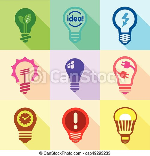 Delightful Light Bulb Logo Icons Set, Flat Style   Csp49293233