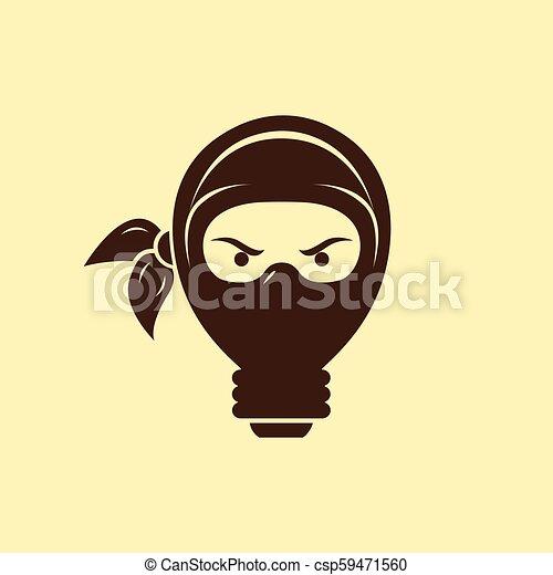 light bulb ninja logo template creative idea vector design smart