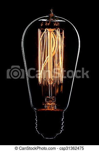 Light bulb on black background - csp31362475