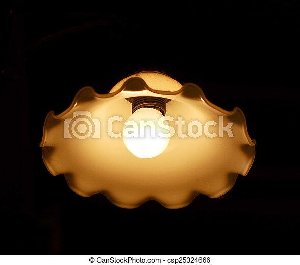 light bulb on black background - csp25324666