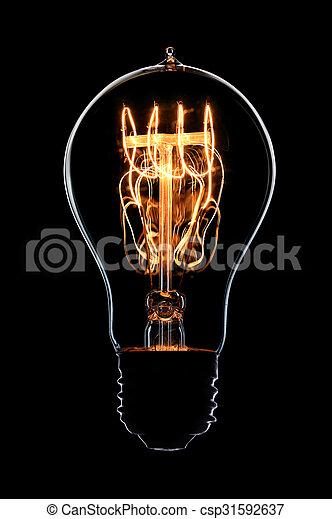 Light bulb on black background - csp31592637