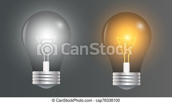 Light Bulb Realistic Vector Image Of A Light Bulb Two Realistic Lightbulb Vector Lights On 3d Object On A Dark Background