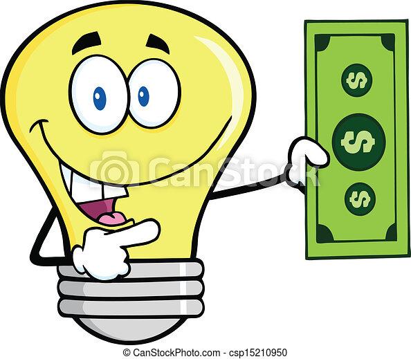 Light Bulb Showing A Dollar Bill - csp15210950