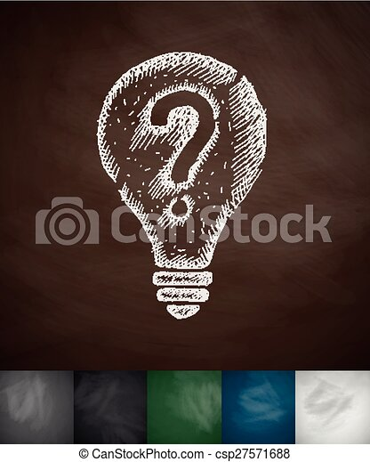 light bulb with a question mark icon - csp27571688