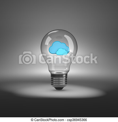 light bulb with clouds shapes inside light bulb with blue clouds