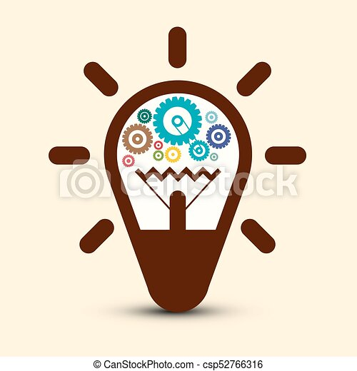 Light Bulb with Cogs - Gears. Vector Symbol. - csp52766316
