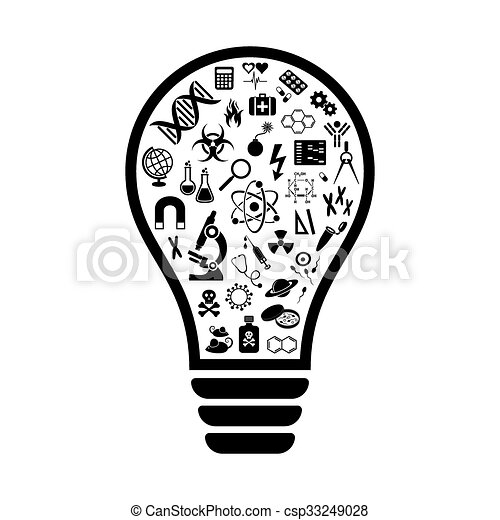 Light bulb with science icons - csp33249028