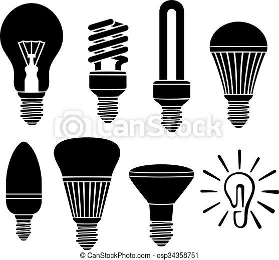 light bulbs icons set - csp34358751