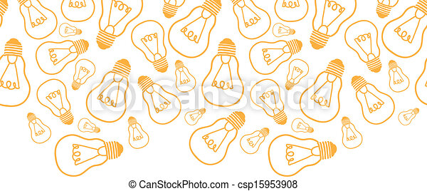 Light bulbs line art horizontal seamless pattern background border - csp15953908