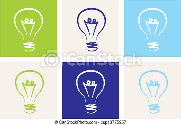 Light bulbs vector eco icon set - csp13775957