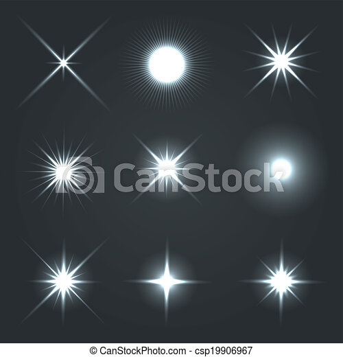 Light Glow Flare Stars Effect Set. - csp19906967